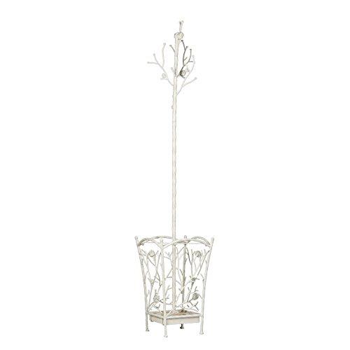 SEI Furniture Bird & Branch Hall Tree - All Metal Construction Coat Rack w/French Vanilla Finish - Entryway