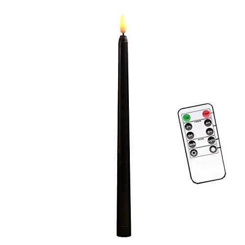 6 Pcs LED Kerzen mit Fernbedienung,Timer und Batterien,Dimmbar Kerzenlichter Flammenlose Weihnachtskerzen für Hochzeit, Geburtstags, Party-Warmes Weiß (6 Pcs, Lange-Schwarz)