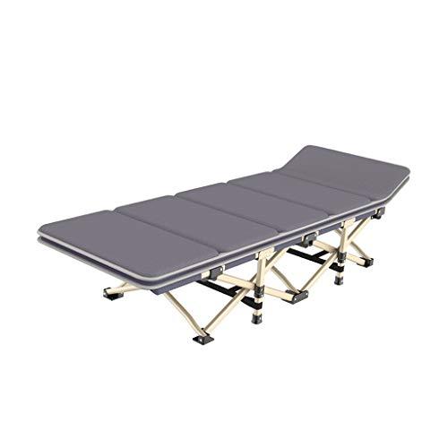Faltbares Campingbett mit Matratze, tragbare Feldbettlast bis zu 200 kg, doppeltes Gewebe 600D verdickt Rohre , 190/65 / 35CM (Color : Gray)
