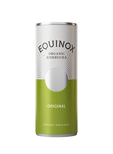 Equinox Kombucha Original Flavoured Drink - 24 x 250ml Cans - Organic, Vegan, Gluten Free - Crisp & Zesty - Made with Chun-Mee Green Tea and Pure Spring Water - with Vitamins, Enzymes, Live Cultures