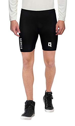 Quada Men Half Short Polyester & Spandex Compression - Black (Imported) (Black, Medium(29-30 Inch Waist))