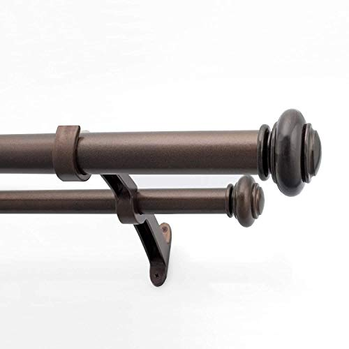 Deco Window 1 Inch Adjustable Brown Double Rod Curtain Rod for Windows Curtains with Endcap Round Finials & Brackets Set - 36' to 66'