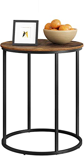 HOME BI End Table, Round Sofa Side Table, Coffee Table,20 Inch Beside Table, Wood Tabletop with Sturdy Metal Frame (Rustic Brown)