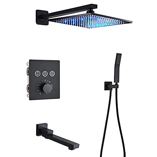 Sistema de ducha termostático LED con caño de bañera Sistema de cabezal de ducha de lluvia cuadrado con juego combinado de mano, instalación integrada Juego de grifo de ducha negro completo, 1