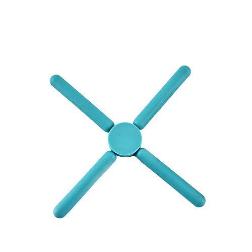 CuteLife Posavasos Plegables de Silicona Soportes-expansible/colapsable Paquete Azul de 6 para Bar Restaurantes