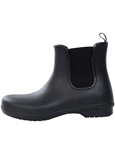 Crocs Women's Freesail Chelsea Ankle Rain Boots Water Shoes, Black/Black, 8 M US
