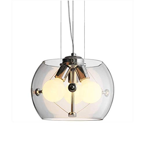 LJX-marryjgo Chandelier Industrial Glass Orb Pendant Lighting Globe Shape Contemporary Foyer Chandelier for Kitchen Living Dining Room Bedroom(2040cm)