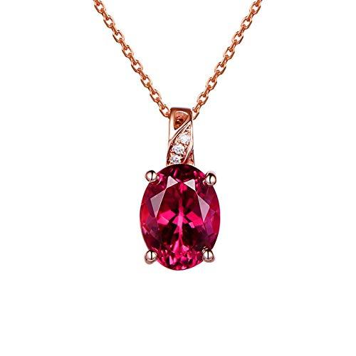 Daesar Colgante Oro Rosa 18K Mujer Collar Oval con 4 Garras Turmalina Roja 1.7ct