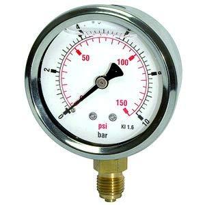 Glycerinmano. »Pressure line«, CrNi-stalen behuizing, aansluiting radiaal onder, G 1/4, kwaliteitskl. 1,6, mes. 0-16,0 bar/235 psi, Ø 63