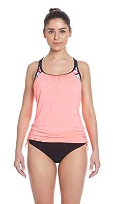 ZeroXposur Womens Tankini Swimsuits Ruched Top Brief Bikini Bottoms Set (Soundwave/Firefly, Large)