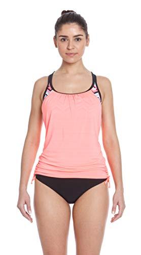 ZeroXposur Womens Tankini Swimsuits Ruched Top Brief Bikini Bottoms Set (Soundwave/Firefly, XX-Large)
