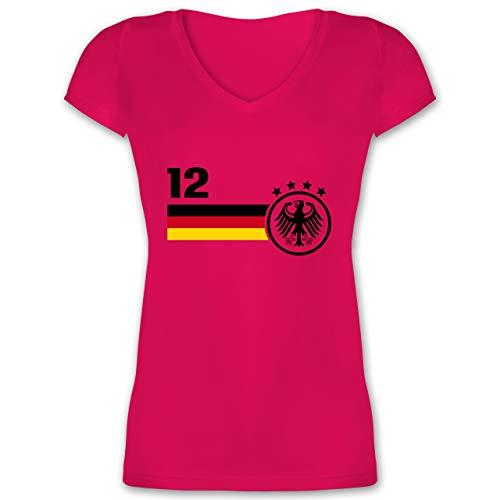 Fussball EM 2021 Fanartikel - 12. Mann Deutschland Mannschaft EM - L - Fuchsia - Deutschland Trikot Frauen wm 2018 - XO1525 - Damen T-Shirt mit V-Ausschnitt