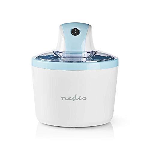 Nedis - Eismaschine - 1,2 l - Transparenter Deckel mit Einfüllöffnung - Anti-Rutsch-Füsse - Einschließlich Rezeptvorschläge - Umkehrbarer Motor - Mit EIN/Aus-Schalter
