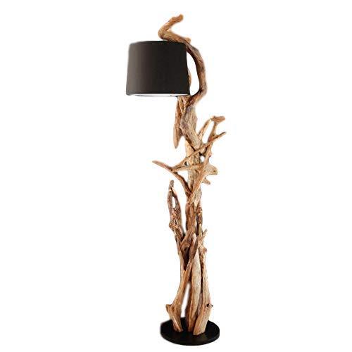 *Designer Stehlampe Holz MORGAN | Teakholz Stehlampe mit Zertifikat | Wurzelholz Unikat Handarbeit | Höhe 190 cm | Lampenschirm: Schwarz | Für Wohnzimmer, Büro u. Praxis | Treibholz Lampe Unikat*