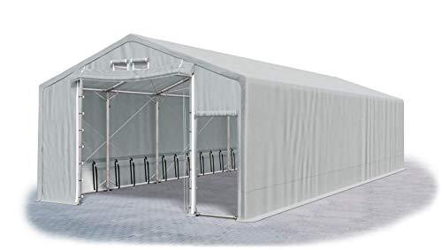Das Company Lagerhalle 8x12x3m grau extra dauerhaft feuersicher wasserdicht ganzjährig Industriezelt haltbar Stahlseile 600g/m² PVC Polar SFR