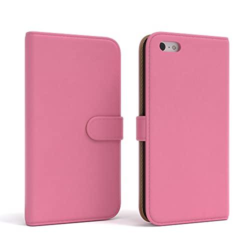 EAZY CASE Tasche kompatibel mit iPhone 5C Schutzhülle mit Standfunktion Klapphülle im Bookstyle, Handytasche Handyhülle Flip Cover mit Magnetverschluss & Kartenfach, Kunstleder, Rosa