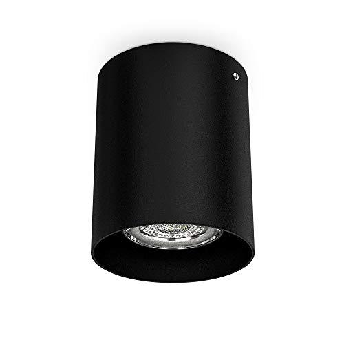 Faretto da soffitto, attacco per lampadina GU10 non inclusa, Lampada da soffitto rotonda, diametro 8cm, metallo colore nero, Plafoniera per cucina, entrata, corridoio, scale 230V IP20