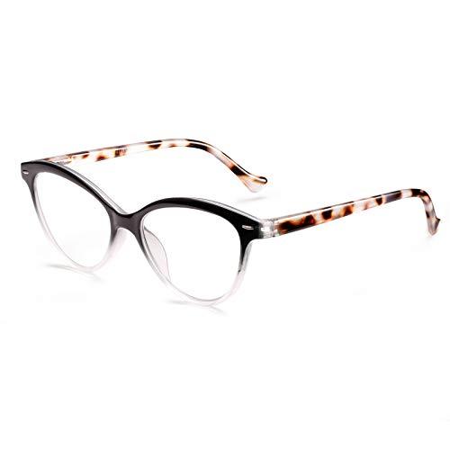 ROSA&ROSE 1 Pack Gafas Ordenador Anti luz Azul Ojo de Gato Gaming PC Azul luz Filtro Proteccion Gafas Evita la Fatiga Ocular para Mujer Hombre - Bisagras Resorte/Lentes Transparentes