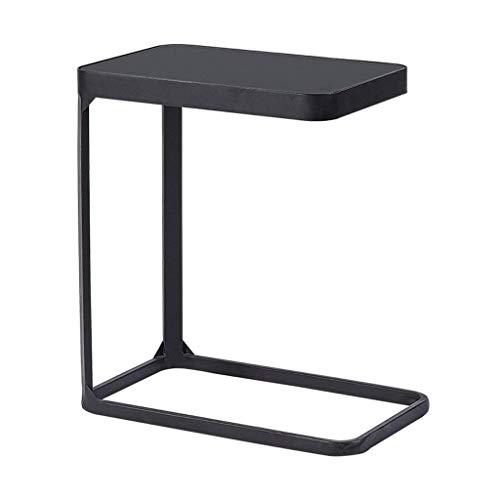 MISLD - Mesa auxiliar de metal para escritorio, ordenador portátil, mesa de cristal templado, escritorio, salón, sofá, mesa baja, dormitorio, almacenamiento temprano, bandeja (color negro)