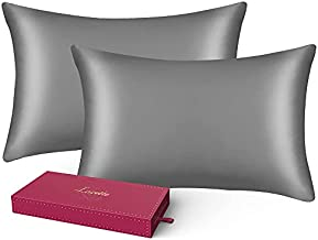 Silk Pillowcase, Standard Size Set of 2 Bed Pillowcases, Lacette 25 Momme Silk Pillow Cover for Hair and Skin with Hidden Zipper, 100% Pure Mulberry Silk/Microfiber (20x26inches, Dark Grey)