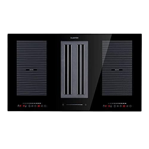Klarstein Full House 2.0 DownAir - Cocina de inducción, Campana extractora de mesa,90 cm,4 zonas,2 zonas flexibles,7110 W,271 m³ / h de capacidad de aire de escape,A +,Control táctil,negro