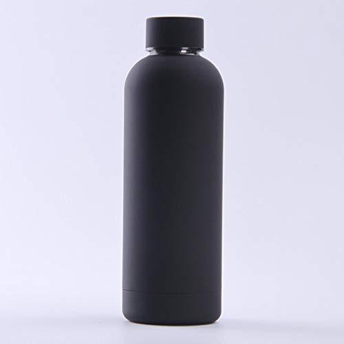 shian Frasco de vacío, Frasco de vacío portátil de Acero Inoxidable, Botella para Deportes al Aire Libre, Taza para el Vientre Grande, Botella de Bebida-Negro