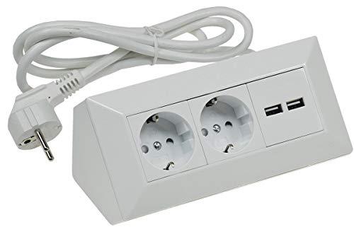 Steckdosenblock Ecksteckdose 2-fach + 2 USB mit 1,5m Kabel Vormontiert I 45° Winkel I Mit Kinderschutz I 230V Wand Aufbau & Eck-Montage für Arbeitsplatte Küche Werkstatt I Weiß