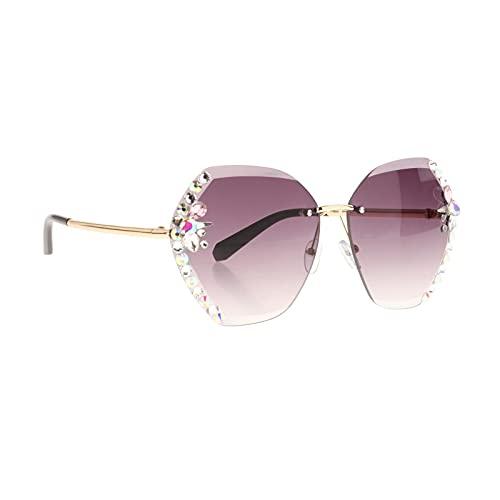 FITYLE Gafas de Sol sin Montura Vintage Gafas graduadas Coloridas sin Montura para Mujeres Tonos UV400 - Gris