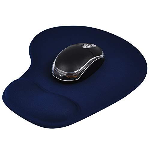 TRIXES Donkerblauw comfort polssteun muismat - antislip rubberen basis - muismat met gel polssteun - antislip - geschikt voor laser en optische muis