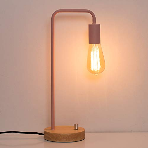 HAITRAL Pink Desk Lamps - Modern Table Work Lamp Wooden Night Light Lamps for Girls Room, Office, Bedroom, Living Room, Kids Room (Without Bulb)