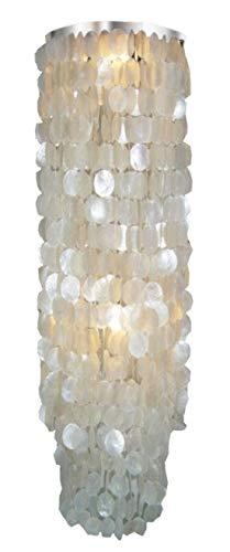 Guru-Shop Deckenlampe/Deckenleuchte Samoa Long Chrome, Muschelleuchte aus Hunderten Capiz, Perlmutt-Plättchen, Muschelscheiben, 100x40x40 cm, Oceanlights Muschelleuchten