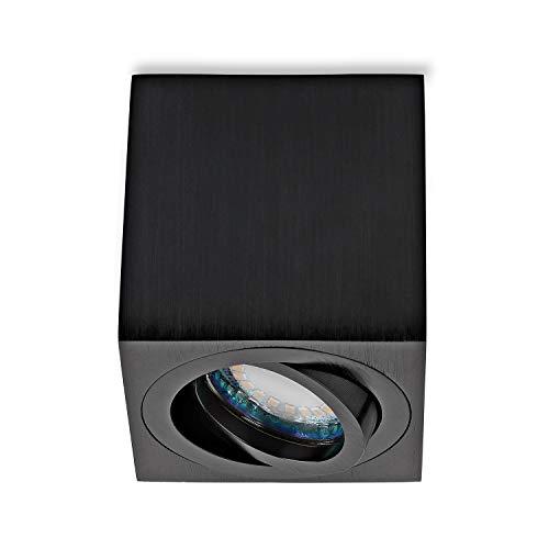 sweet-led Aufbauleuchte Rund-Eckig inkl. GU10 5W 450 Lumen 3000K 230V Aufbaustrahler Deckenleuchte Aufputz Alu-gebüstet schwenkbar Strahler Deckenlampe Unterbauleuchte aus Aluminium (Eckig-schwarz)