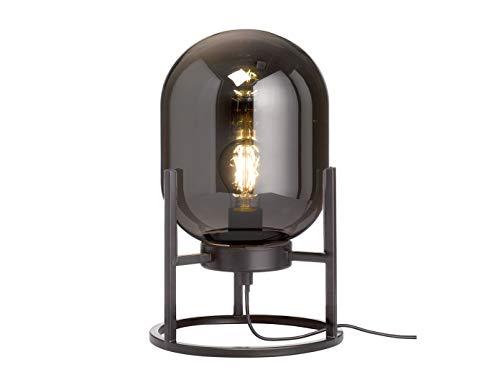 Coole Tisch- & Hockerlampe mit Lampenschirm aus Rauchglas & Filament LED - außergewöhnliche Dreibeinlampe