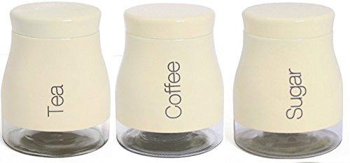 Set de 3 de acero inoxidable de az/úcar del caf/é del t/é del frasco de cristal caja de juego de color beige y rojo y acero inoxidable crema