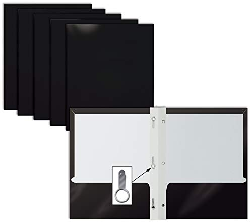 2 Pocket Glossy Black Paper Folders with Prongs, 25 Pack, by Better Office Products, Letter Size, High Gloss Black Paper Portfolios with 3 Metal Prong Fasteners, Box of 25 Glossy Black Folders