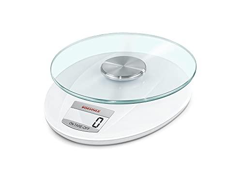 Soehnle Digitale Küchenwaage Roma mit 5 Kilo Tragkraft und 1-g-Wiegepräzision, Waage mit praktischer Zuwiegefunktion (TARA), elegante Waage für die Küche mit LCD-Anzeige und Abschaltautomatik, weiß