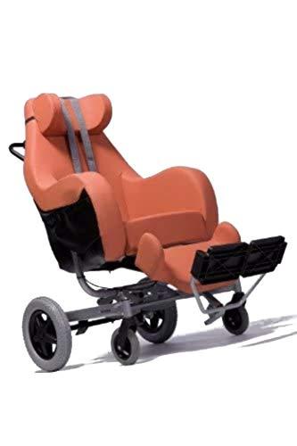 FabaCare Pflegerollstuhl mit Liegefunktion Coraille für Außenbereich, Multifunktionsrollstuhl neigbar, Orange, Sitzbreite 48 cm