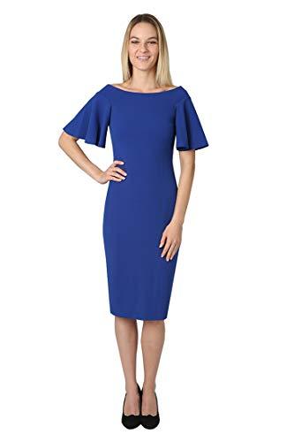 Bebe Damen Midi-Kleid, schulterfrei, mit Glockenärmeln - Blau - 38