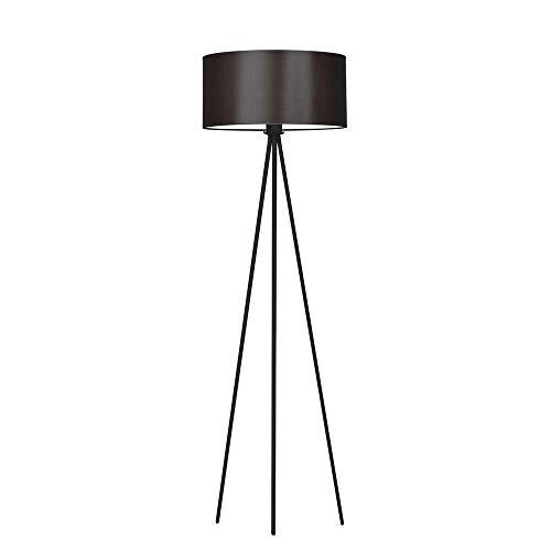 SEWILLA - Lámpara de pie con pantalla de lámpara, marco marrón y negro