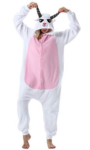 Pijama Animal Entero Unisex para Adultos con Capucha Cosplay Pyjamas Cabra Ropa de Dormir Traje de Disfraz para Festival de Carnaval Halloween Navidad