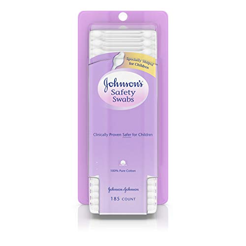 Johnson's Safety Swabs, Gentle Baby Ear Cleaning, 185 Count (Pack of 2)