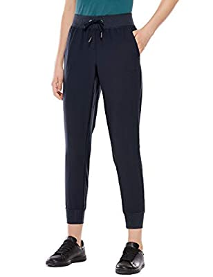 CRZ YOGA Women's Lightweight Joggers Pants with Pockets Drawstring Workout Running Pants with Elastic Waist Navy M