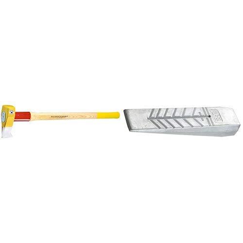 Ochsenkopf OX 635 H-3009 Profi-Holzspalthammer Big Ox® / Hochwertiger Spalthammer mit Hickory-Holzstiel und Rotband-Plus Stielbefestigung / Gewicht: 4200 g & OX 42-0550 Alu-Massivkeil 550 g