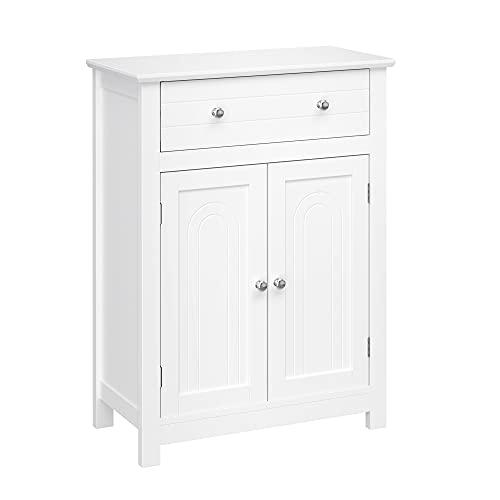 VASAGLE Badezimmerschrank, Badschrank mit Schublade und verstellbarem Einlegeboden, Küchenschrank im Landhausstil, Aufbewahrungsschrank aus Holz, weiß, 60 x 80 x 30 cm (B x H x T), BBC61WT