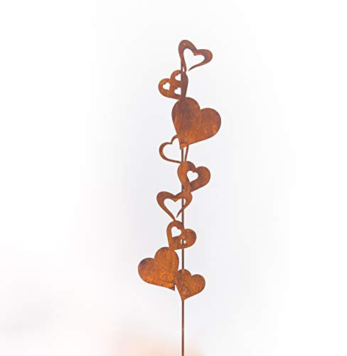 Tuindecoratie hart op staaf steker bed bloempot metaal roest decoratie welkomsting 120 cm hoog