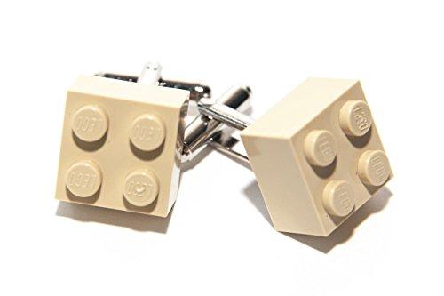 Crème authentique briques Lego Boutons de manchette – Funky rétro Cool Boutons de manchette fabriqué par Jeff Jeffers