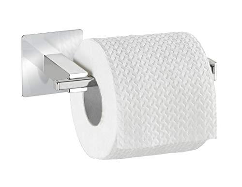 WENKO Turbo-Loc® Edelstahl Toilettenpapierhalter ohne Deckel Quadro - Befestigen ohne bohren, Edelstahl rostfrei, 16.5 x 6.5 x 7 cm, Chrom