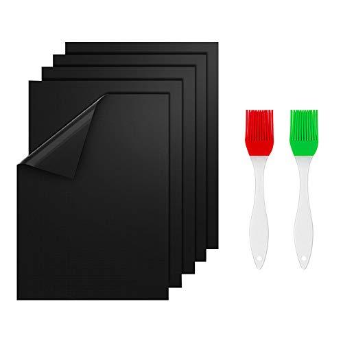 prabensei BBQ Grillmatte 5er Set, Teflon Grillmatten Antihaft & Wiederverwendbar, Barbecue Grill Matte Backmatte geeignet, Backpapier Grillzubehör für Elektrogrill, Gasgrill, Backofen 40x33 cm