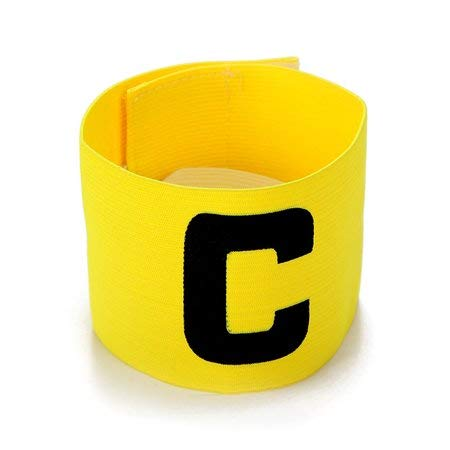 Cashwin Bright Colour Soccer Football Captain Armband Tape for Adult and Youth Fitness Band (Yellow)