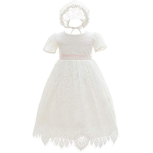 Silver Mermaid Baby Girls Special Occasion Formal Dresses Lace Gown Outfit (24M Ivory White)